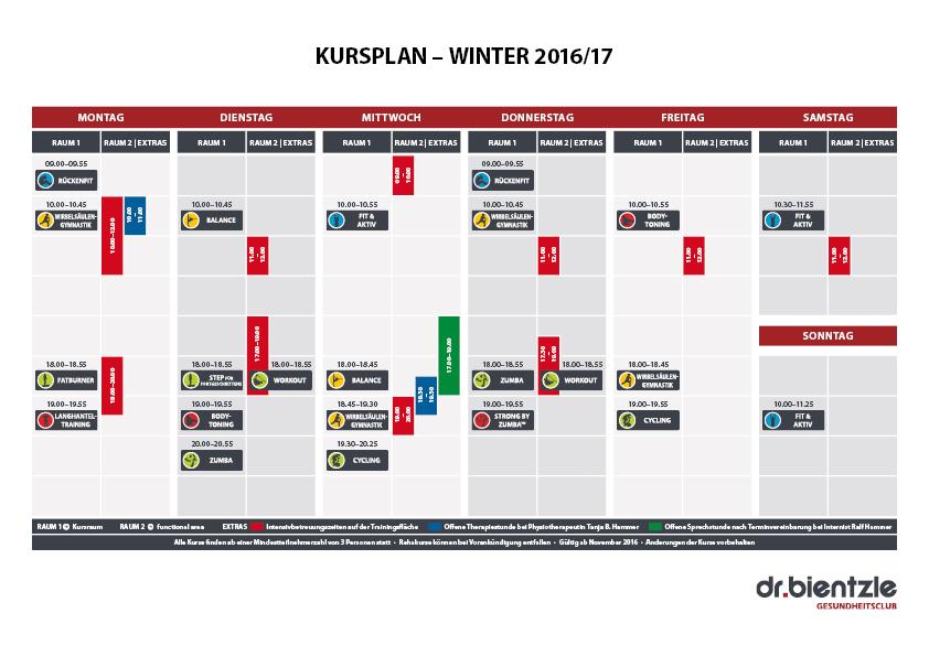 Unser Kursplan Winter 2016/2017