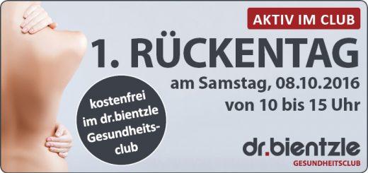 1. Rückentag am 08.10.2016 von 10-15 Uhr kostenfrei im dr.bientzle Gesundheitsclub Grötzingen