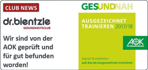 """CLUB-NEWS: AOK-Siegel """"Ausgezeichnet trainieren"""""""