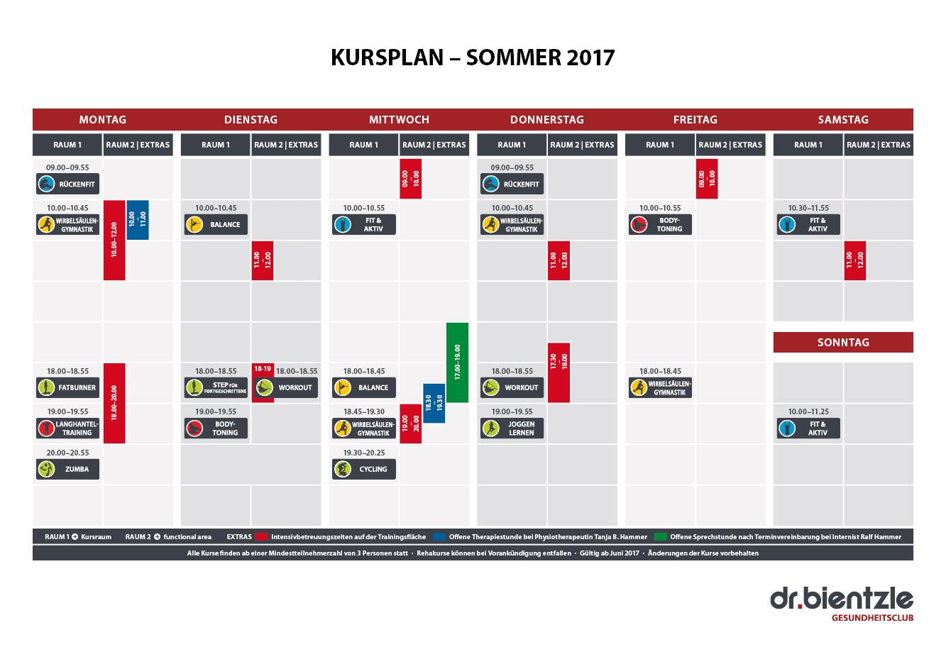 Unser Kursplan Sommer 2017