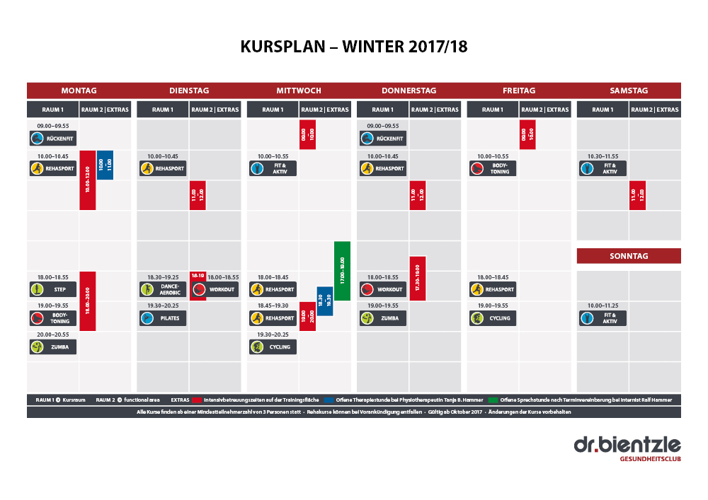 Unser Kursplan Winter 2017/18